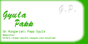 gyula papp business card